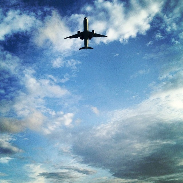 Airplane landing at Changi Airport, Singapore.
