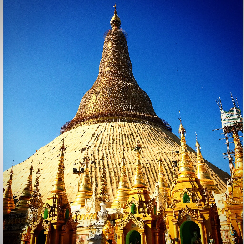 The Shwedagon Pagoda is of solid gold and build to contain hair from Buddha.